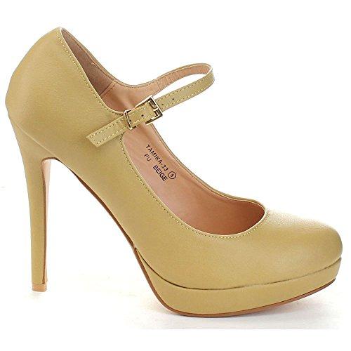 Bellamarie Tamika-33 Womens Lovely Cinturino Alla Caviglia Con Cinturino Alto, Beige, 10