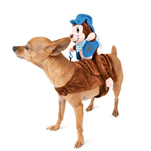 Petacc Dog Costume Adorable Pet Christmas Costume Soft Dogs Clothes with Self-Adhesive Strap and Reserved Hole for Dog Leash, Monkey Rider Style -