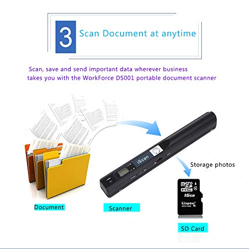 Aibecy Portable Handheld Wand Wireless Scanner A4 Size 900DPI JPG//PDF Formate LCD Display with Protecting Bag and 8GB TF Card for Business Document Reciepts Books Images