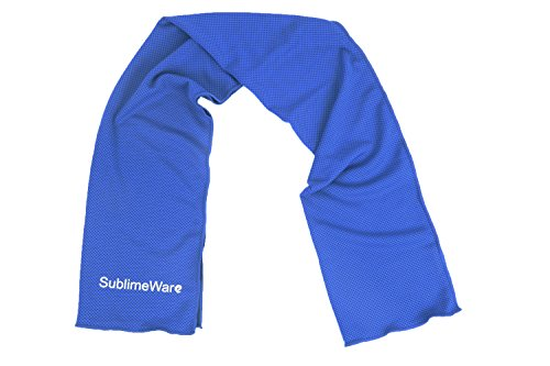 SublimeWare® Cool Towels (2 Pack) Blue Athletic Cool Cold Chill Wet Ice Microfiber Towel for Baseball Workout Sports Runner Yoga Gym Exercise Hot Flash Neck Baby Headband Sweatband (30x100cm)