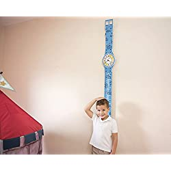 Creative Kids Growth Chart with Teaching Clock by ZYX Kids Co. | Fun Childrens Growth Charts & Educational Clocks | Kid Wall Clock | Child Growing Chart | Large Watch Wall Clock for Toddlers | Blue