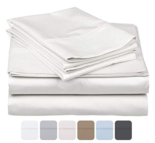 600 Thread Count 100% Long Staple Soft Cotton, 4 Piece Sheets Set, Full XL Size,Smooth & Soft Sateen Weave, Luxury Hotel Collection Bedding, White Solid
