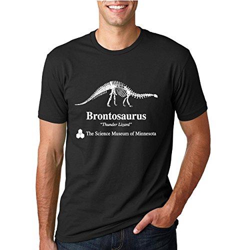 Wild Bobby Brontosaurus Science Museum of Minnesota  Strange Fan   Mens Pop Culture Tee Graphic T-Shirt, Black, 2XL