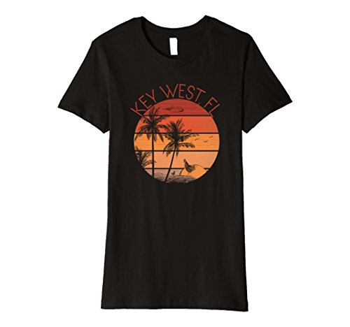 Womens Key West Sunset and Chickens Souvenir T-Shirt XL - Key Women West