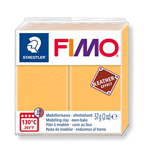 - STAEDTLER St Fimo Leather-Effect Oven-Hardening Modelling Clay for Creative Objects in Leather Look and Feel Saffron Yellow 8010-109