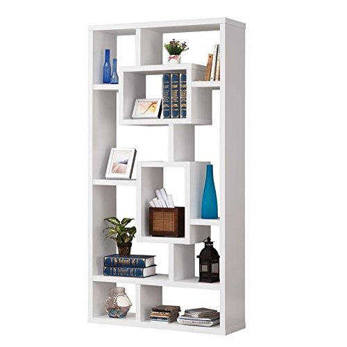 Asian Modern Furniture - Coaster Home Furnishings  Modern Contemporary 10 Shelf Organizer Storage Bookcase - White