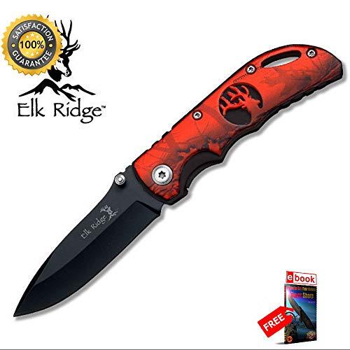 (Elk Ridge Red Camo Cutout Handle Hunting Folding Pocket Sharp KNIFE Combat Tactical Knife + eBOOK by Moon Knives )
