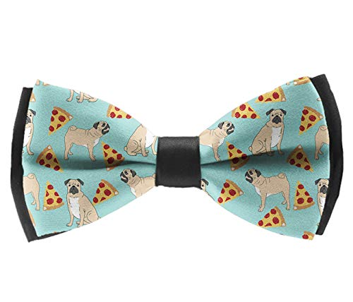 Pre-Tied Classic Bow Ties, Funny Vector Dogs Pug Puppies Pattern Pizza Neck Band Ties Casual And Formal Tuxedo Butterfly Bow Tie For Adults & Children - Suit Accessories, Fun Occasions ()