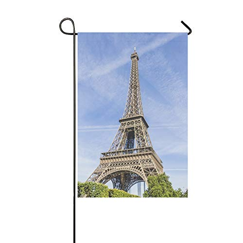 - Jnseff Home Decorative Outdoor Double Sided Eiffel Tower La Tour Eiffel Located Garden Flag,House Yard Flag,Garden Yard Decorations,Seasonal Welcome Outdoor Flag 12 X 18 Inch Spring Summer Gift