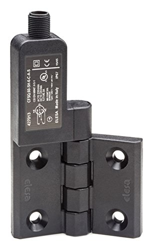 Elesa 427023  Hinges with Built-In Safety Switch, Black Matte Super-Technopolymer, AISI  303 Stainless Steel Rotating Pin, F-A-S: Axial Cable, 2 m Length, Microswitch On The Left