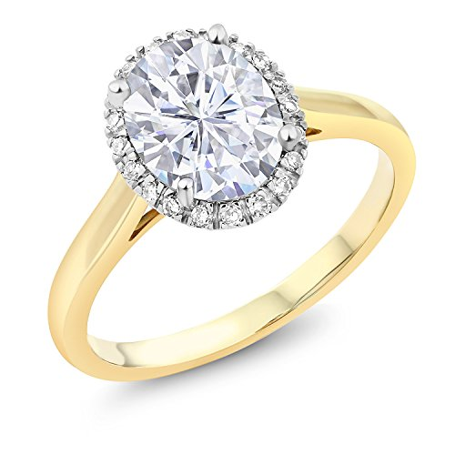 10K Yellow Gold Fashion Right-Hand Ring Forever Classic Oval 2.10ct (DEW) Created Moissanite by Charles & (Yellow Gold Created Moissanite Ring)