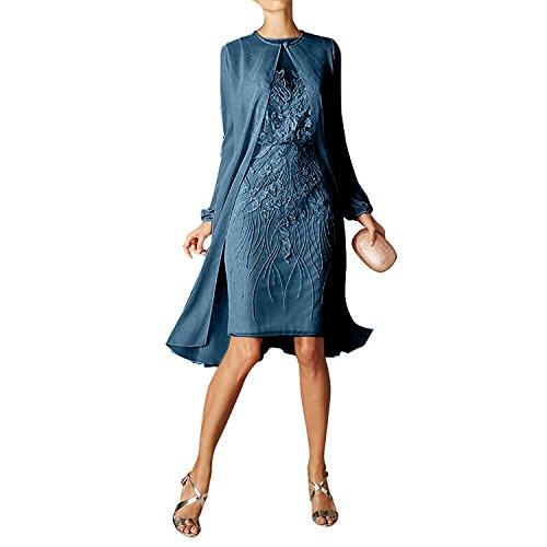 Navy Chiffon Etuikleider Braut mia Abendkleider Rot La langarm Partykleider Dunkel mit Damen Blau Bolero Spitze Knielang P6nn0Fx