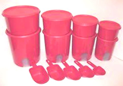 Tupperware Kitchen Storage Countertop Canisters with Toppers and Scoopes