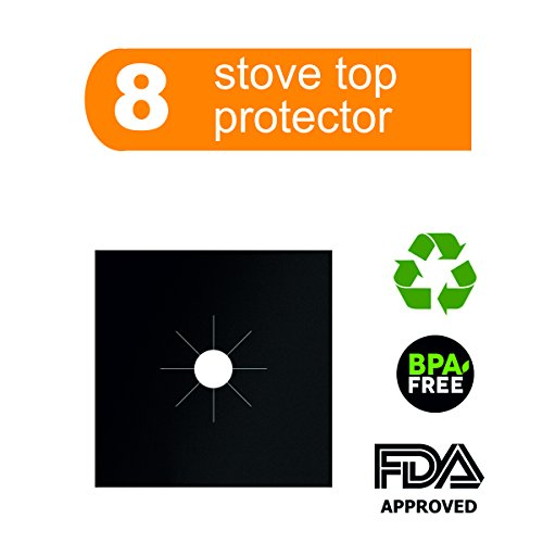 Gas Range Protector,Stove Protector, Burner Cover-Cook Top Hob Liners .2MM THICK 8 PACK, Easy Clean,Dishwasher Safe,Heavy Duty Reusable Non Stick, Heat-resistant (10.6 x 10.6) inch