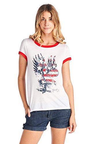 - my LAnd Women's American Eagle Flag Vintage Print Contrast Trim T Shirt White L
