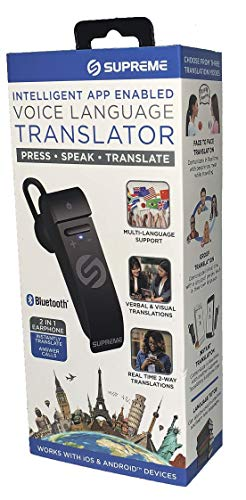 Portable Language Translator Device – Translate Headphone – Voice Translation Earpiece – Real Time Two-Way Translation Gadget – Bluetooth Multi-Language Support with 5 Modes & Call Answering by Supreme Tech (Image #1)
