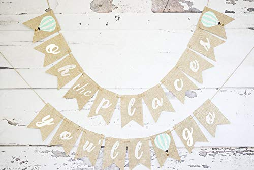 Oh The Places You'll Go Hot Air Balloon Banner for First Birthday Party Decor -