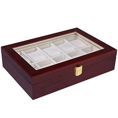 - SONGMICS 10 Slots Watch Box Cherry Watch Display Case Storage Organizer Large Glass Top UJOW10C