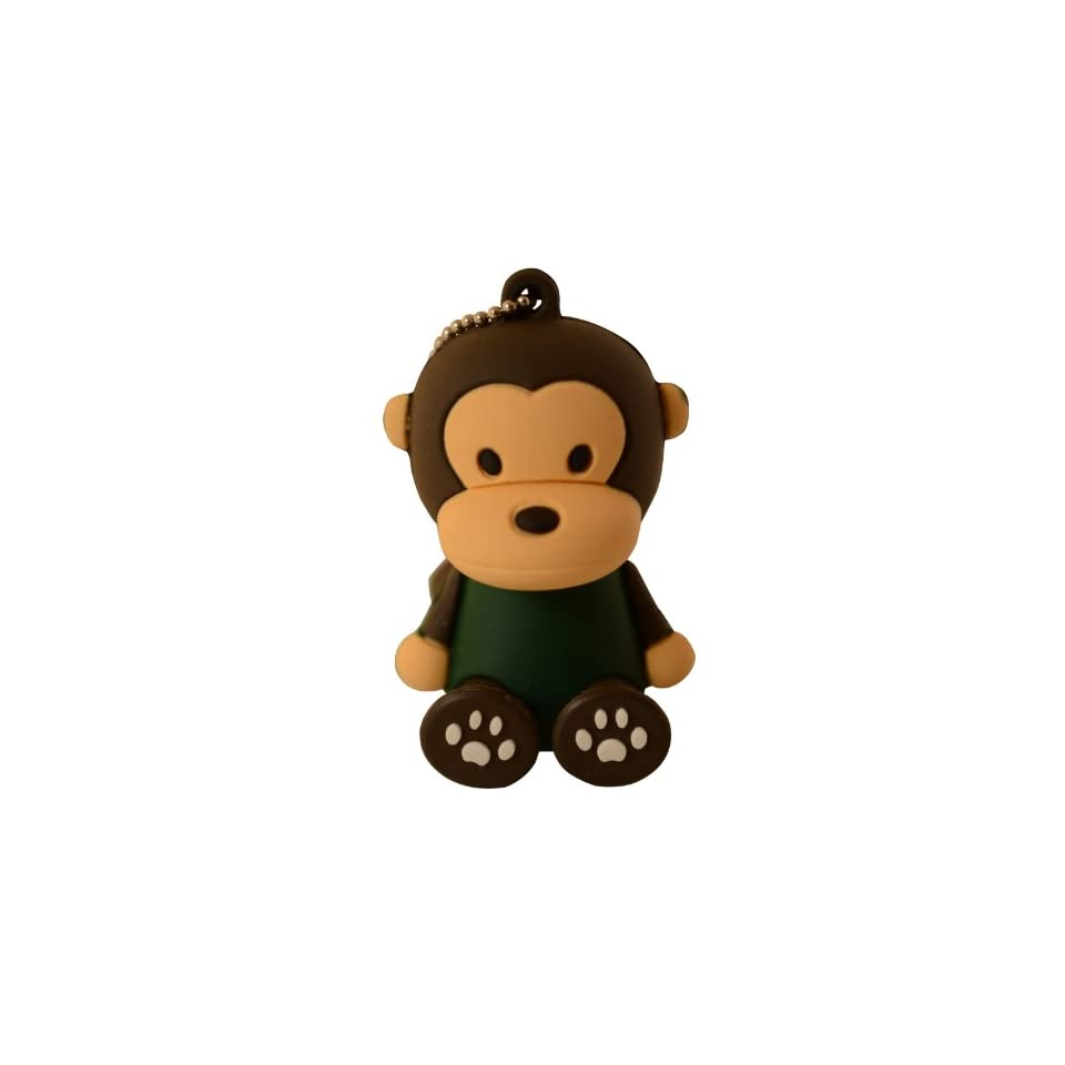 Cute Black Monkey Sitting Milo Keychain Animal Collection 4GB USB Flash Drive   in Gift box   with GadgetMe Brands TM Stylus Pen and comes in GadgetMe retail packaging