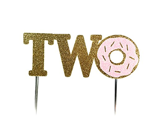 CMS Design Studio Handmade 2nd Second Donut Birthday Cake Topper Decoration - Two - Made in USA with Double Sided Gold Pink Glitter Stock
