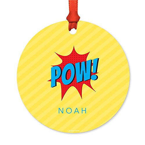 rsonalized Metal Christmas Ornament, Pow! Superhero, 1-Pack, Includes Ribbon and Gift Bag, Custom Name ()