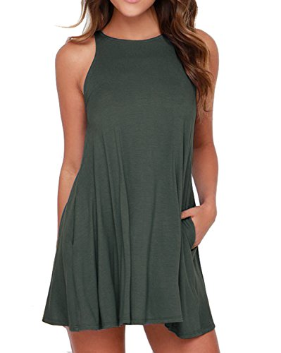 HiMONE Women's Sleeveless Pockets Casual Swing T-Shirt Dresses Dark Green Medium