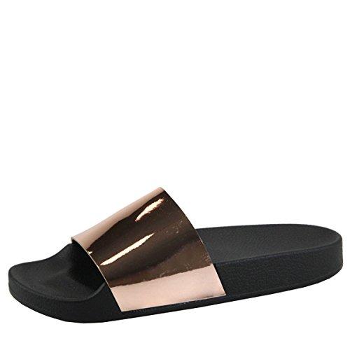 Bella Marie Kvinners Åpen Tå Metallisk Glide Flip Flop Slip On Lav Flat  Sandal Tøffel Rose