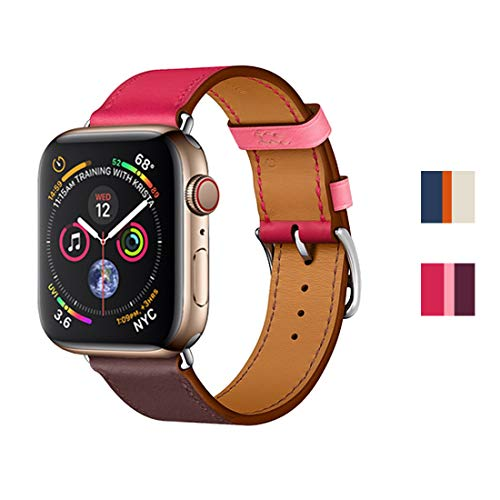 INTENY Genuine Leather Replacement Band with Stainless Steel Buckle Single Tour Compatible for iWatch Band Apple Watch Series 4/3 / 2/1, 42mm 44mm, Bordeaux Rose Extrême Rose Azalée