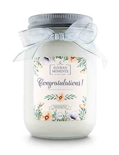 Elysian Moments Soy Wax Highly Scented CONGRATULATIONS Gift Candle CINNAMON BUN 16 oz
