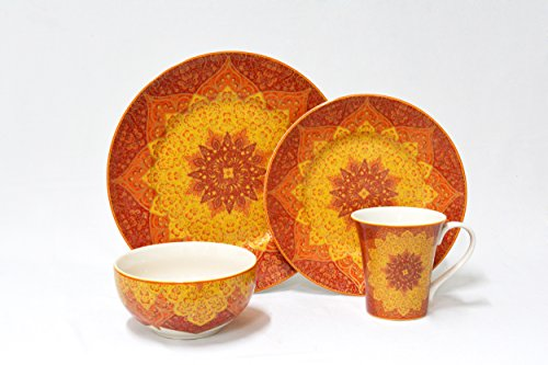 222 Fifth 3002RD801A1B71 Kashan 16 Piece Dinnerware Set, Red by 222 Fifth (Image #4)