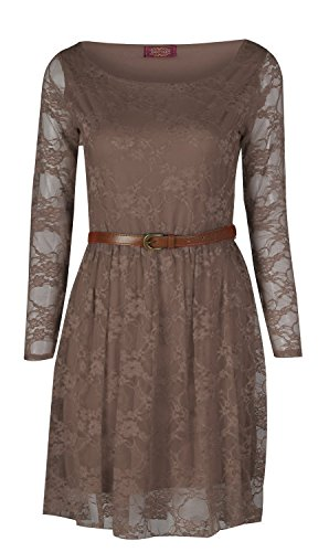 Buy belted floral lace dress - 3