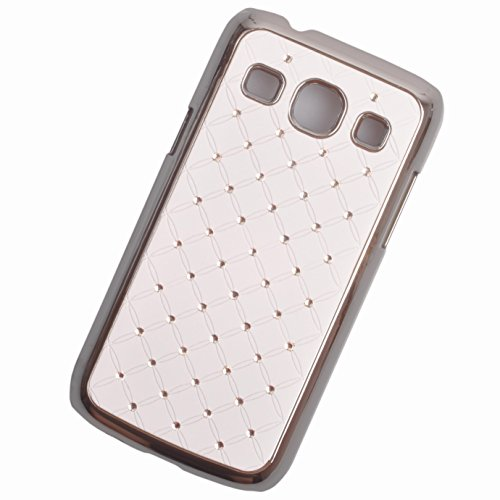 Einzige Slim Fit Rhinestone Bling Hard Chrome Plated Shine Case Cover for Samsung Galaxy Core Plus (GT-G3500 SM-G350 G3502) (White) with Free Universal Screen-stylus