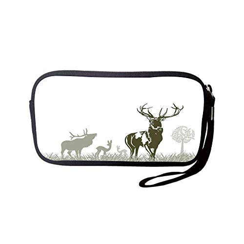 iPrint Neoprene Wristlet Wallet Bag,Coin Pouch,Antlers Decor,Wild Animal Deers Field Meadow Grassland Tree Morning Time Park Landscape,for Women and Kids -