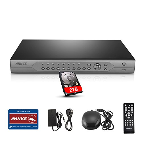Annke 720P AHD 24-Channel H.264 Real-Time High Resolution Security DVR with 2TB Hard Drive Included, HDMI 1080P Video Output Standalone CCTV Digital Video Recorder (Cameras Not Included) Four Channel Dvr