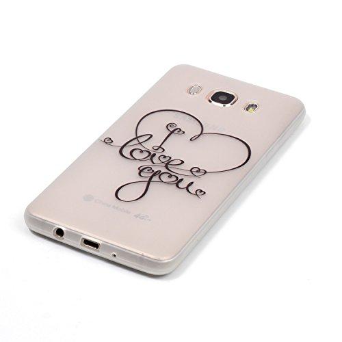 [Extremadamente Delgada] Funda 3D Silicona Transparent para Samsung Galaxy J5 (2016) J510 , Funda TPU Ultra Slim para Samsung Galaxy J5 (2016) J510 , TOCASO Case Fina Slim Fit Cristal Clear, Noctiluce Love You