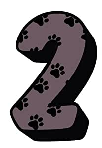 Dog Cat Paw Prints With Brown Number 2 Sticker For