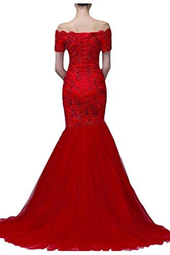 Victory bridal qualité supérieure à manches courtes en maille rouge dentelle mermaid abendkleider ballkleider hochzeitkleider long