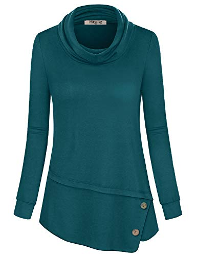 Hibelle Women Tunic Tops, Classy Long Sleeve Turtle Neck Pullover Loose Fit Shirt XL Plus Size A-line High Stretch Swing Asymmetric Hem Sweatshirt Comfortable Daily Wear Dark Cyan Large ()