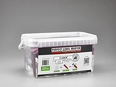 """1/8"""" T-Lock Complete KIT Anti lippage Tile leveling system by PERFECT LEVEL MASTER - 300 spacers & 100 wedges in handy bucket ! Tlock"""