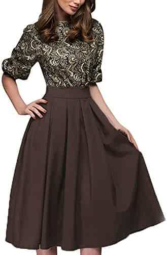 3a15d658c0e Nadition Dress for Womens Elegant Vintage Floral Print Dress Casual Half  Sleeve Work Office Knee Length