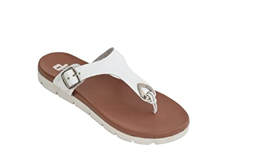 ae68bf227439 Dish Footwear Abbey Leather Flat Sandal Women - White 9  Amazon.com ...