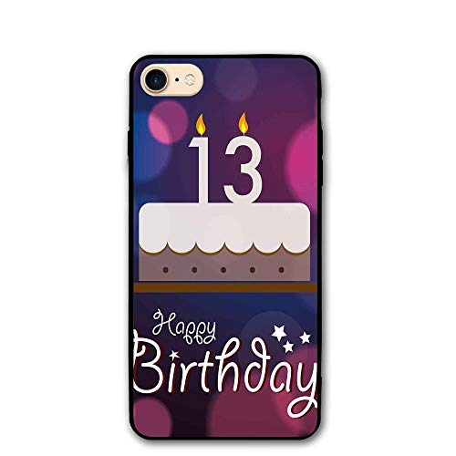 Haixia iPhone 7/8 Protective Case Cover 4.7 Inch 13th Birthday Decorations Hand Drawn Party Cake with Number Candles Abstract Backdrop Full Blue Pink White