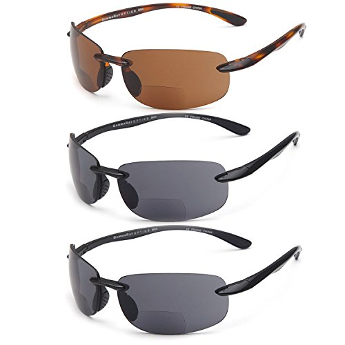 GAMMA RAY 3 Pairs of Sports Bifocal Sunglasses Readers for Biking Golfing Running UV400 Protection Outdoor Reading Glasses for Men and Women Non-Polarized Lenses - With 1.75x - Sunglasses Polarized Bifocal