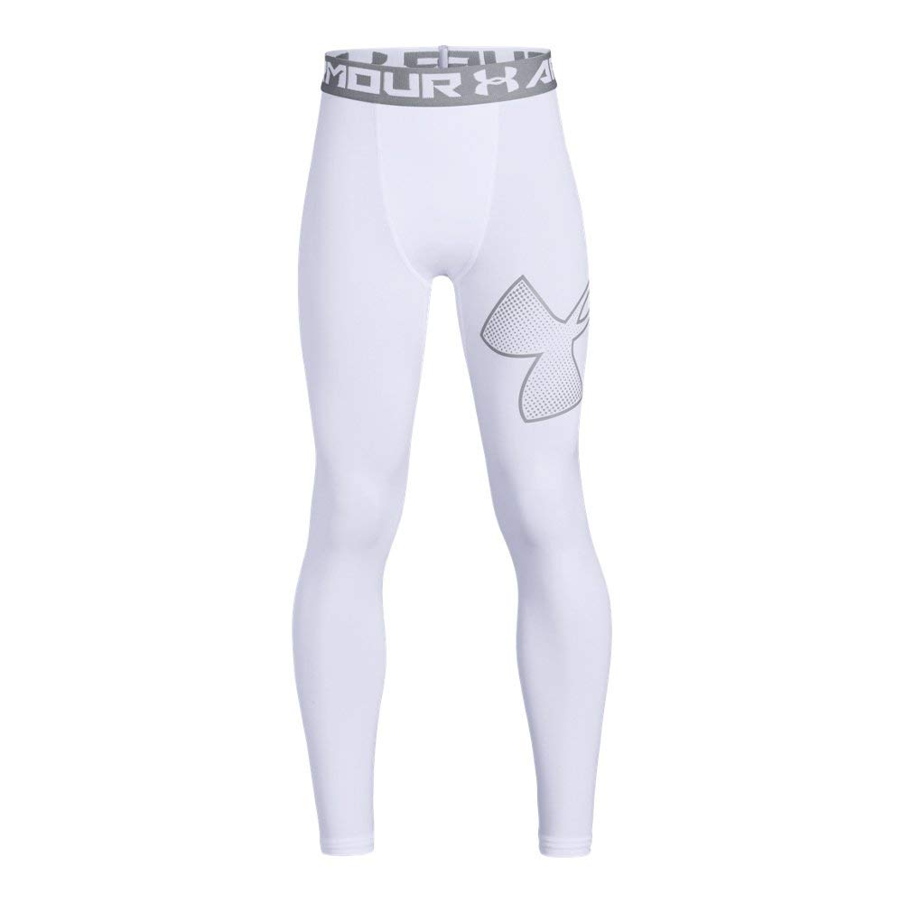 Under Armour Boys Armour logo Legging, White /Overcast Gray, Youth X-Large