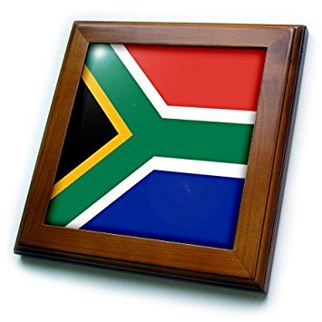 3dRose ft_158432_1 Flag of South Africa-Colorful Red Green Blue Black White Yellow Multicolor African World Souvenir-Framed Tile Artwork, 8 by 8-Inch (World Framed Tile)