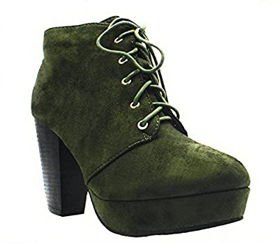 Forever Camille-86 Women's Comfort Stacked Chunky Heel Lace Up Ankle Booties Olive Size7.5