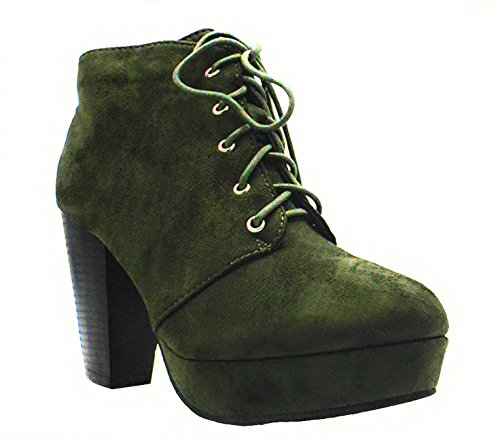 Size Ankle 86 Camille Women's Forever Booties Camille TS up 7 Stacked Comfort v2 Chunky Lace Heel Olive 86 gFaWqxU