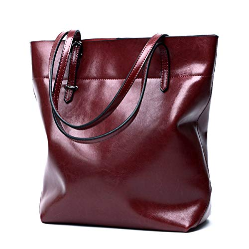 CHERRY CHICK Women's Large Genuine Leather Vertical Daily Tote Classic Work Bag (Burgundy-608)