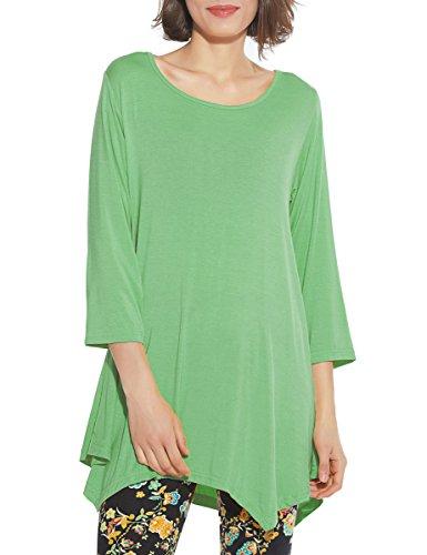 Understand Green T-shirt - BELAROI Women 3/4 Sleeve Swing Tunic Tops Plus Size T Shirt (1X, Green)