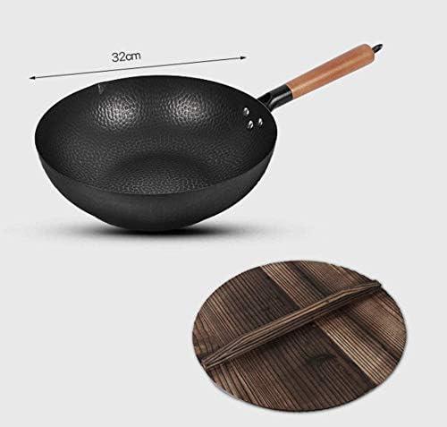 Wok traditionnel martelé main fine poignée et de l'acier en bois (diamètre 32 cm, à fond rond)